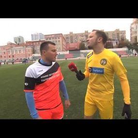 Артем Гагарін веде репортаж з футбольного турніру за кубок захисника України