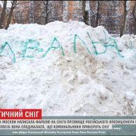 """Жителька Москви написала фарбою на снігу """"Навальний"""", аби комунальники нарешті прибрали кучугури"""