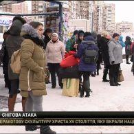 Через снігопад у столиці ускладнився рух транспорту